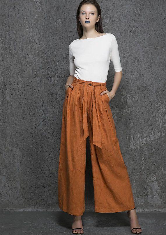 professional website special selection of new wide leg pants women, Brown Wide Leg pants - lien maxi pant ...