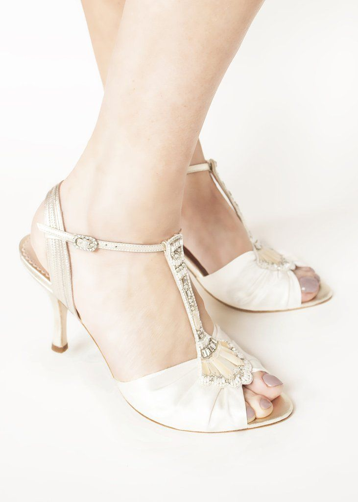 38b23467133 Emmy London Ivy Gold Bridal Shoes in Gold Metallic Leather and Satin with  Embellished T-