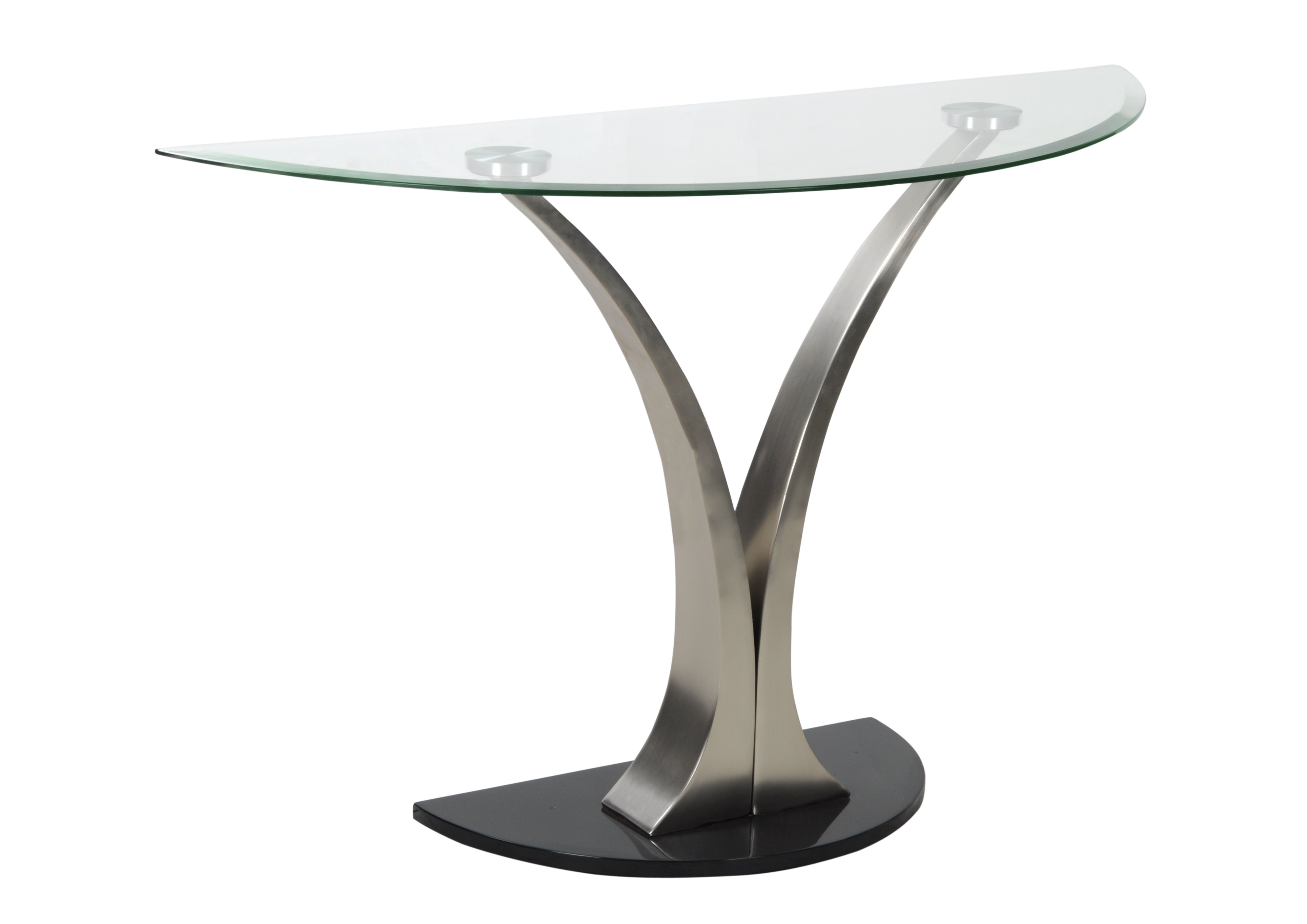 Amro Sofa Table With The Tusk Shaped Metallic Base And Semi Circular Solid Gl Top Arrests Feel Of Onlookers
