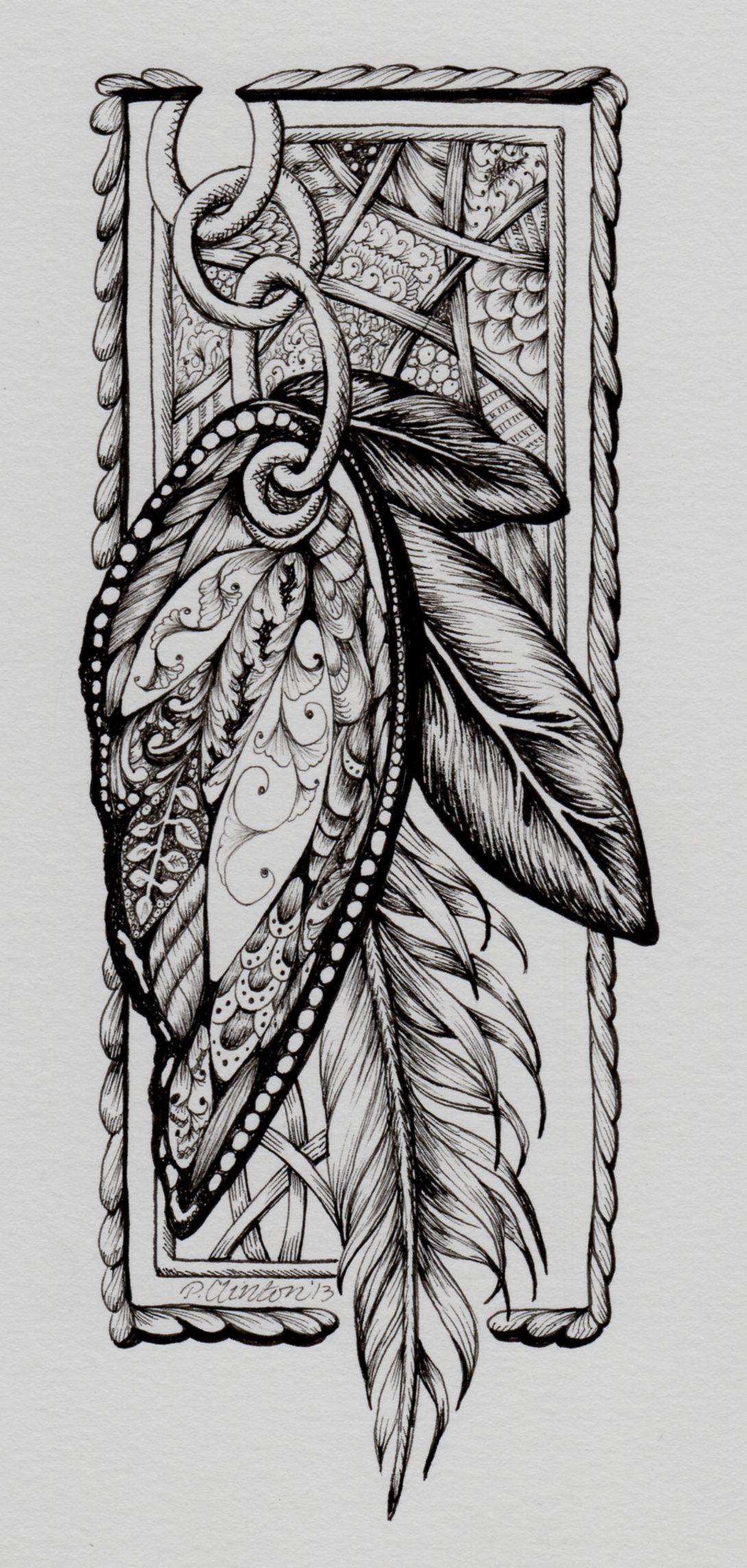 Zentangle by P Clinton Butterfly Feather Flutters art Pinterest