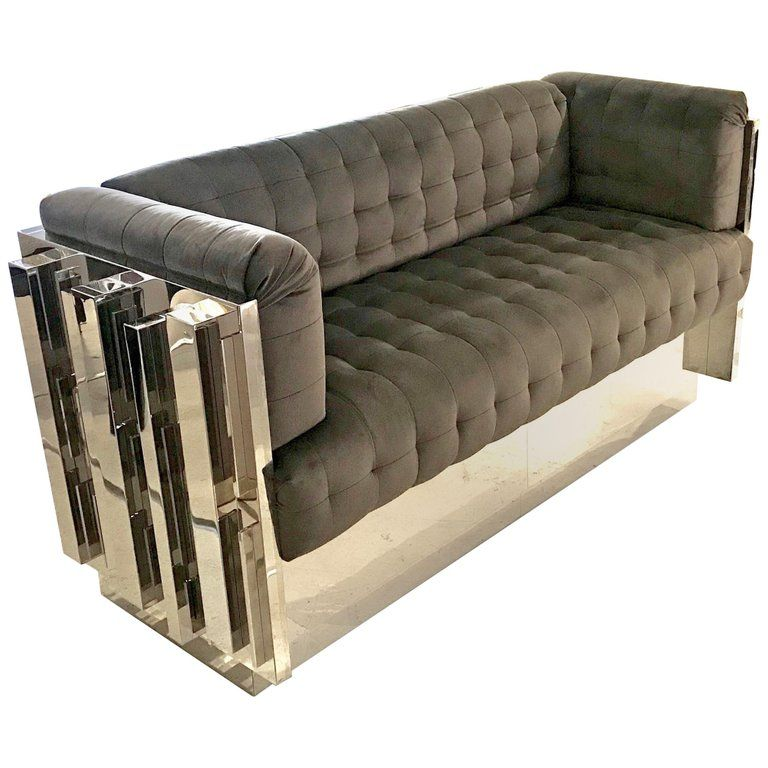 Contemporary Custom Made Mirror Polished Stainless Steel Sofa