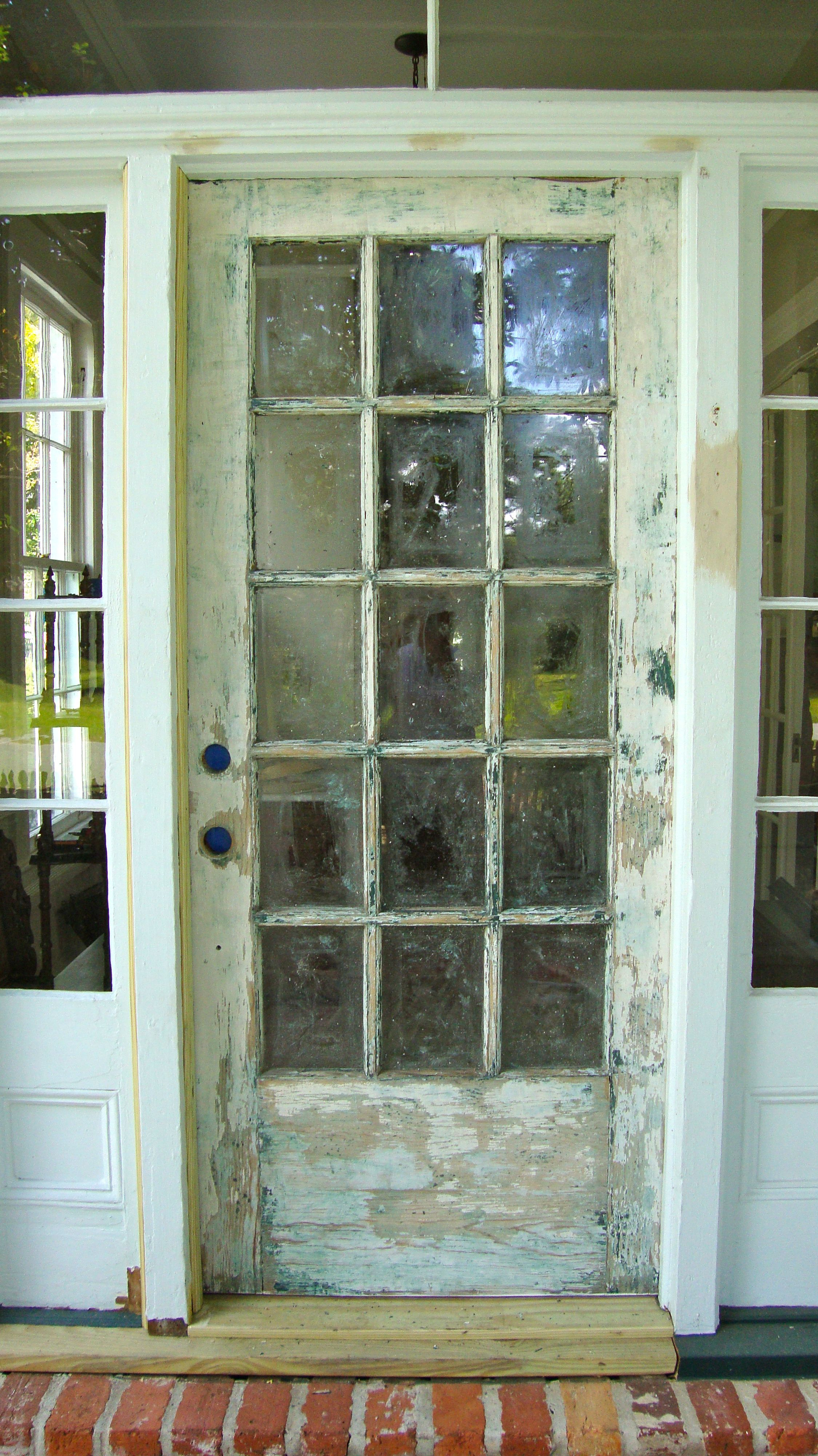 The Old Front Door Once Dark Green Is Stripped And Ready For A New