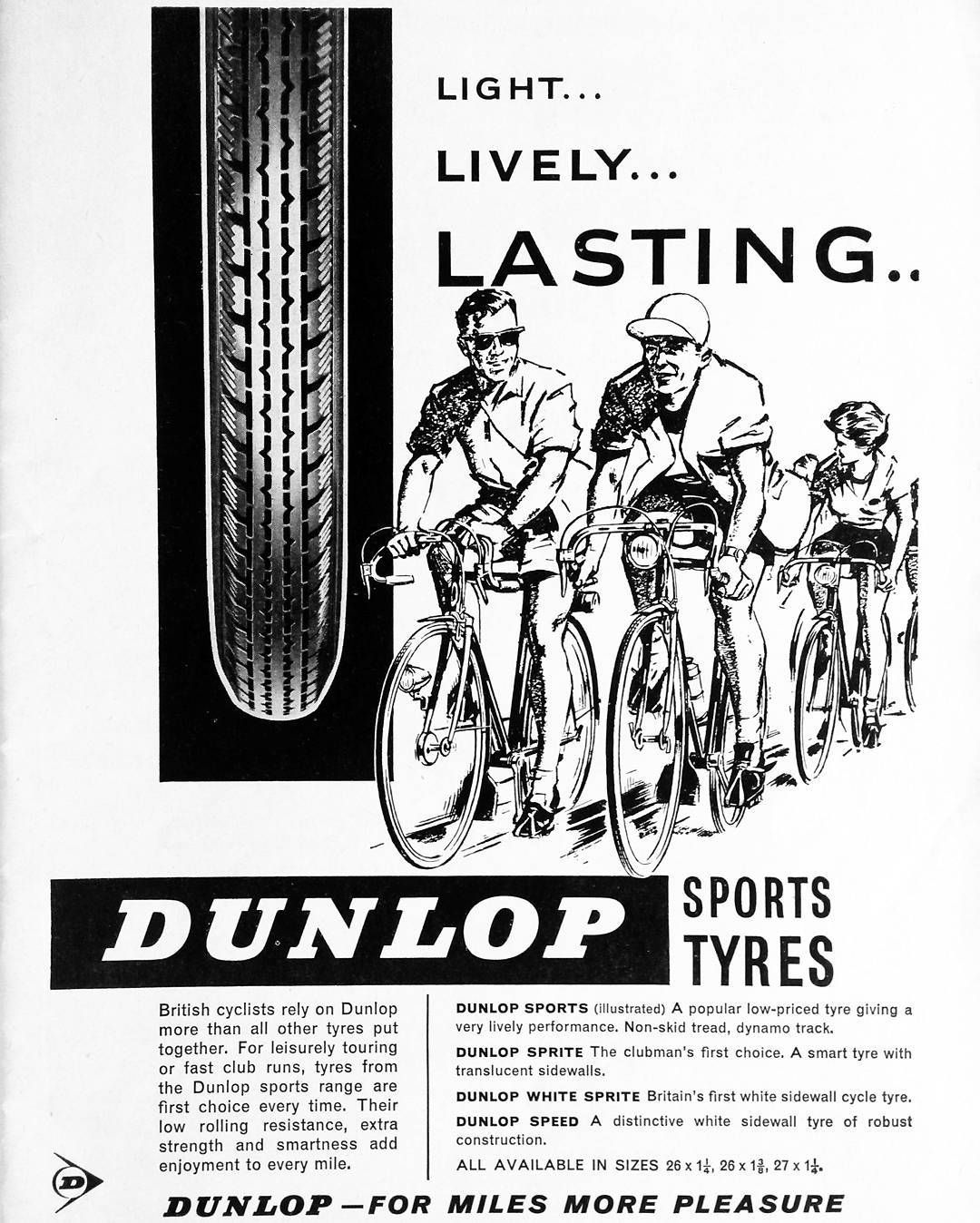 Dunlop Bicycle Tyre Advertisement From 1962 Bicycletyres Dunlop Vintagecycling Vintagebicycle Retrocycling B Dunlop Tyres Bicycle Mechanics Dunlop Sport