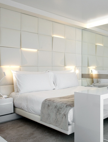 Lighting Uplights And Downlights Integrated Into Sculpture Squares Headboard Bedroom Wall