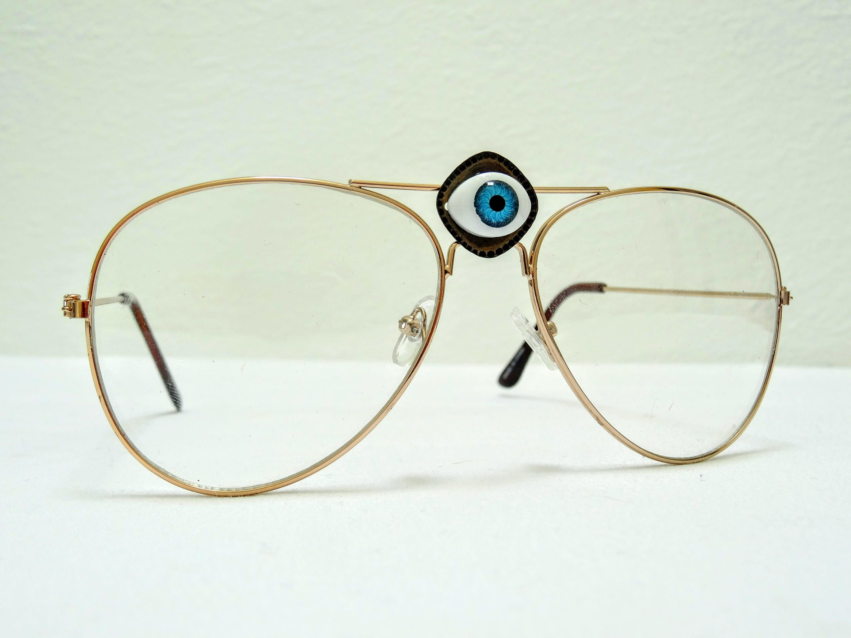 aac81903877d Third Eye Clear lenses Gold Frame glasses