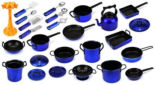 Complete 21 Piece Children Kids Pretend Play Toy Kitchen Utensils Kitchenware Playset w Variety of Pots Pans Utensils Tea Kettle Colors May Vary ** Want additional info? Click on the image.