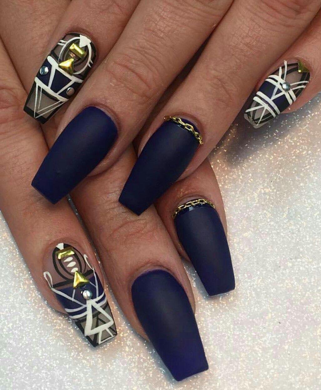 Matte navy nails design - Matte Navy Nails Design Aztec Nails Pinterest Navy Nails