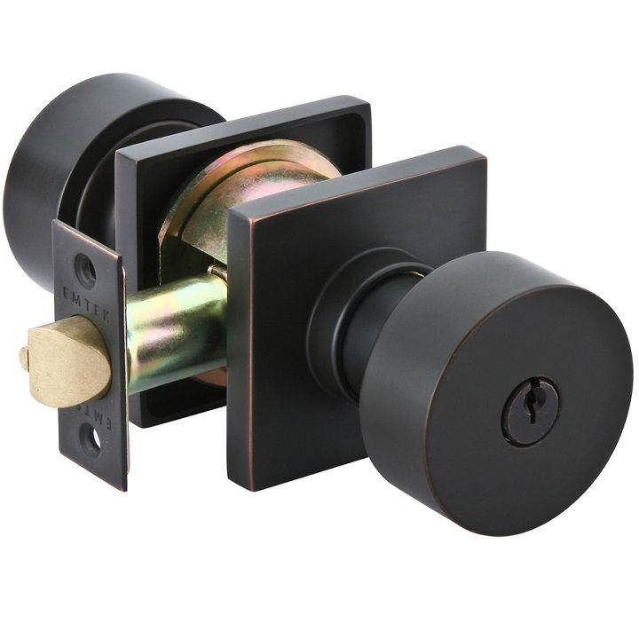 Comes In Flat Black Emtek Modern Round Keyed Entrance Knob Doors Tiles Fence Gates Garage
