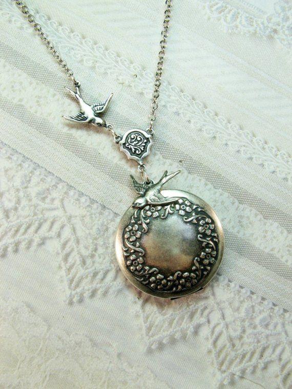 Silver Locket Necklace - Silver Sparrow Wreath Locket - WEDDING Jewelry by BirdzNbeez - Wedding Birthday Bridesmaids Gift