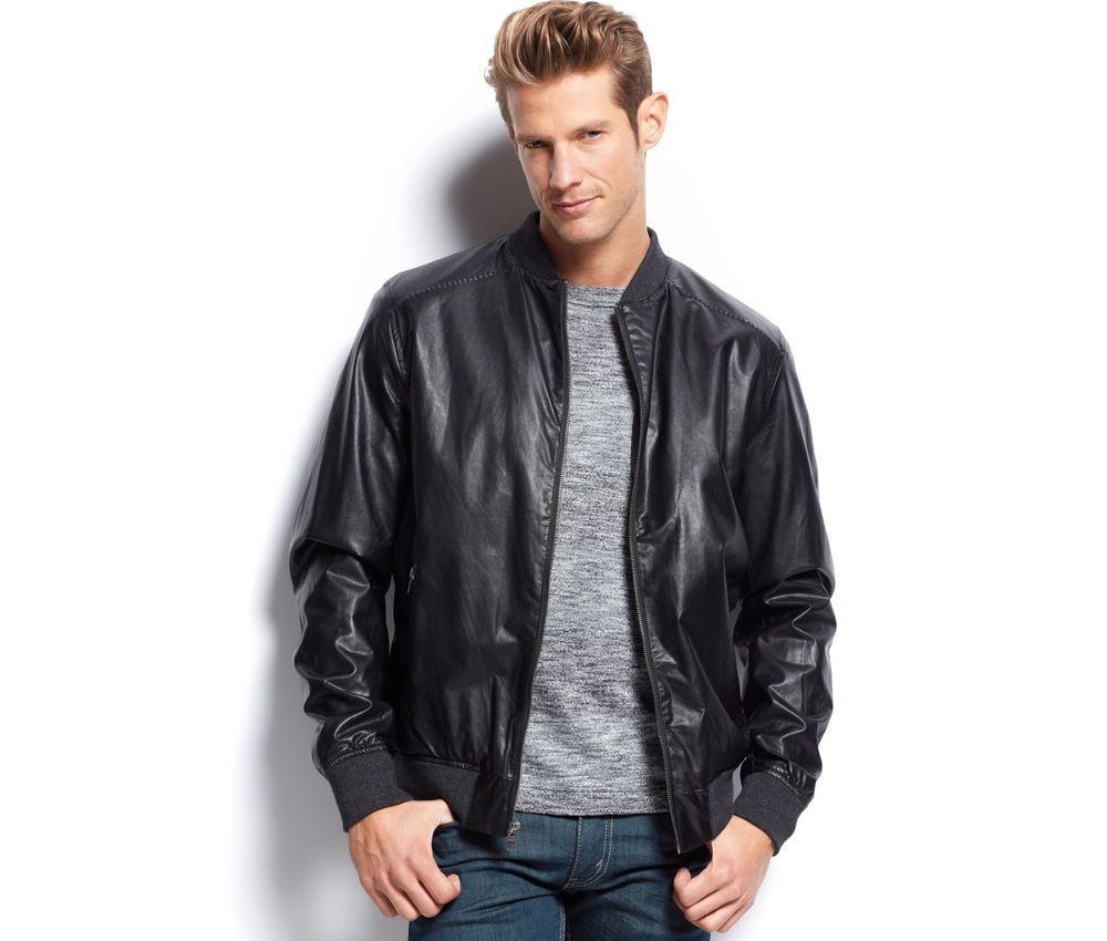 f19f0e7e8 Alfani RED men's jacket slim fit faux leather black lined size S, M ...