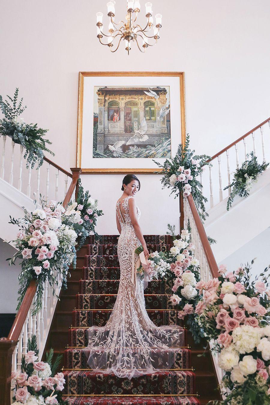 Wedding dress centerpiece  Love Bonitous Rachel Lim and Leonard Leeus Singapore Wedding at