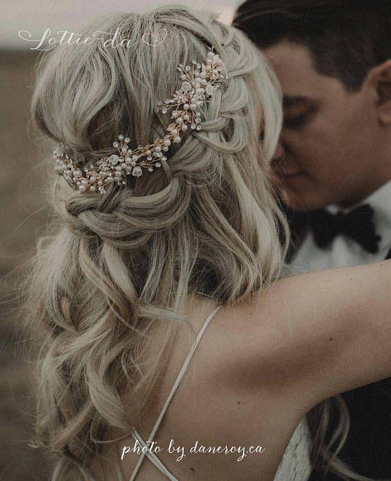 Boho Haar Halo Braut Blume Haar Krone Haar Kranz Rebe mit Perlen in Antik Gold, Rose Gold, Gold, Antik Silber, «Zinnia»