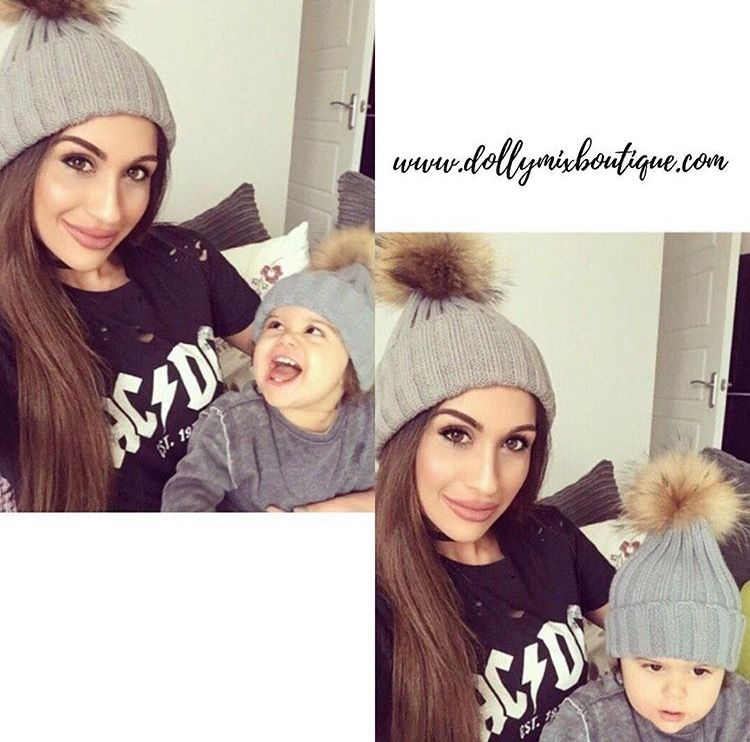 Luxury Fur Pom Pom Hats #mummy #baby #mother #son #daughter #parents #dollymixboutique #hats #bobble #babyfashion #kidsfashion