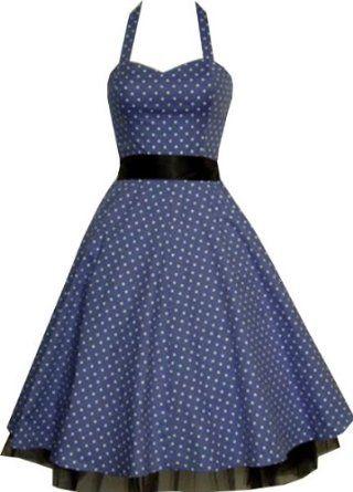 ae39fb3f429c Pretty Kitty Fashion - Robe - Bleu et Pois Blanc  Amazon.fr  Vêtements et  accessoires