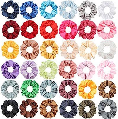 Amazon.com   SUBANG 36 Pack Satin Scrunchies Hair Elastics Scrunchies Hair  Bands Ties for Women Girls e46fc1bdcf0