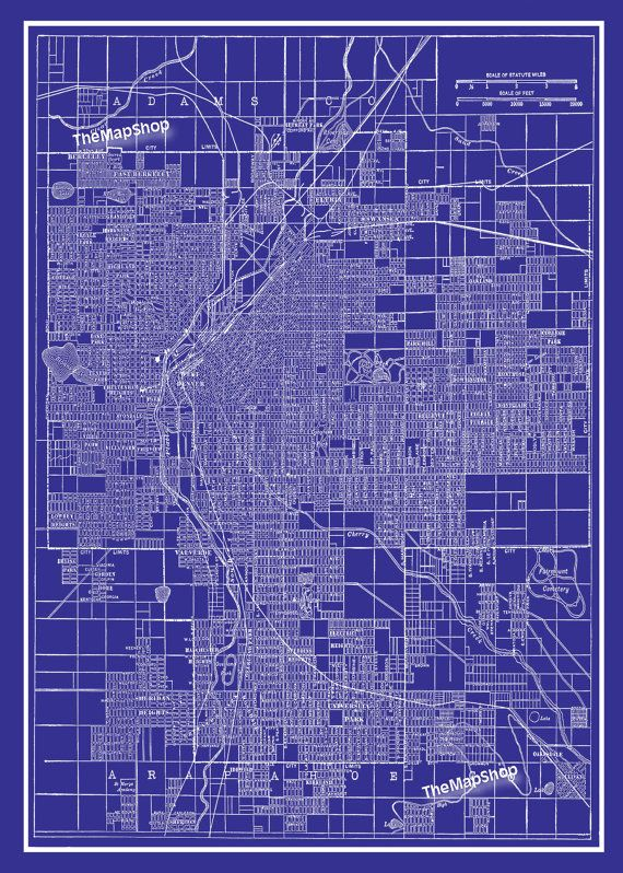 1944 denver street map vintage blueprint print by themapshop 1944 denver street map vintage blueprint print by themapshop 1295 malvernweather Choice Image