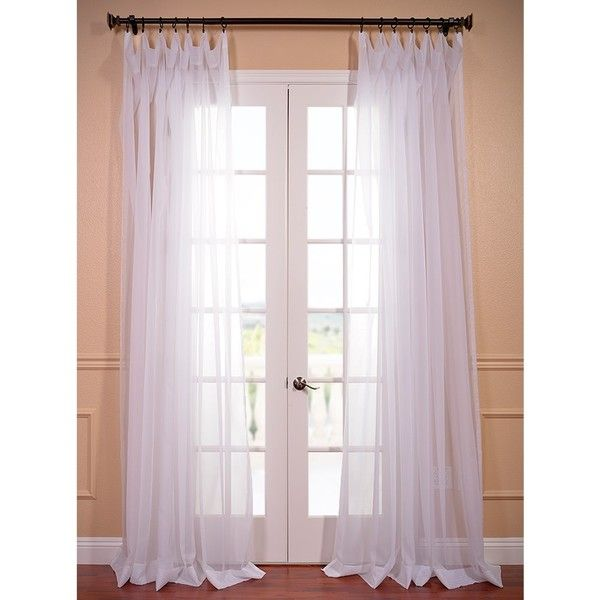 EFF Extra Wide White Poly Voile Sheer Curtain Panel   15595605    Overstock.com Shopping