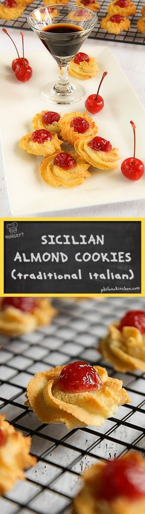"TRADITIONAL SICILIAN ALMOND COOKIES - The almond cookies are ""a must"" of the Sicilian culinary tradition. They are prepared with the Almond paste, called ""pasta reale"" in Sicily. The legend wants that the recipe was created in the XII century in the convent of the ""Martorana"" in Palermo and that his name is due to his goodness (worthy of a King!) . These fantastic cookies are as good as easy to do! Accompany them with a good tea, coffee or a glass of Marsala sweet wine. - desserts"