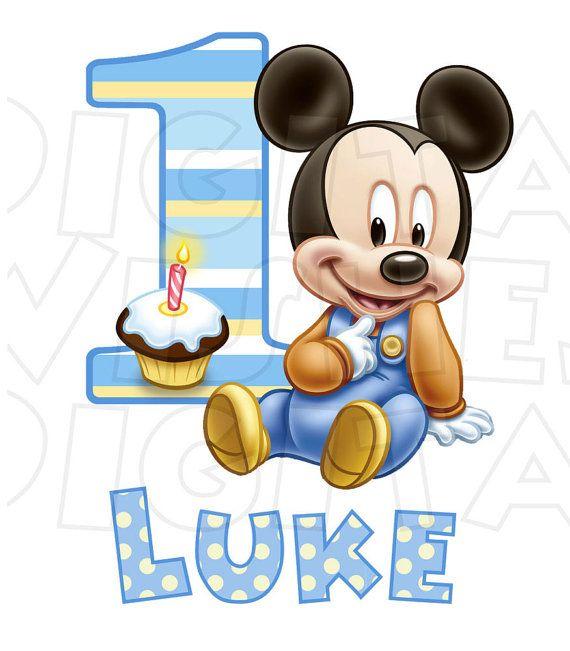 Baby Mickey Mouse 1st Birthday Image Personalized Name Digital Etsy Mickey 1st Birthdays Mickey Mouse 1st Birthday Mickey Mouse Birthday