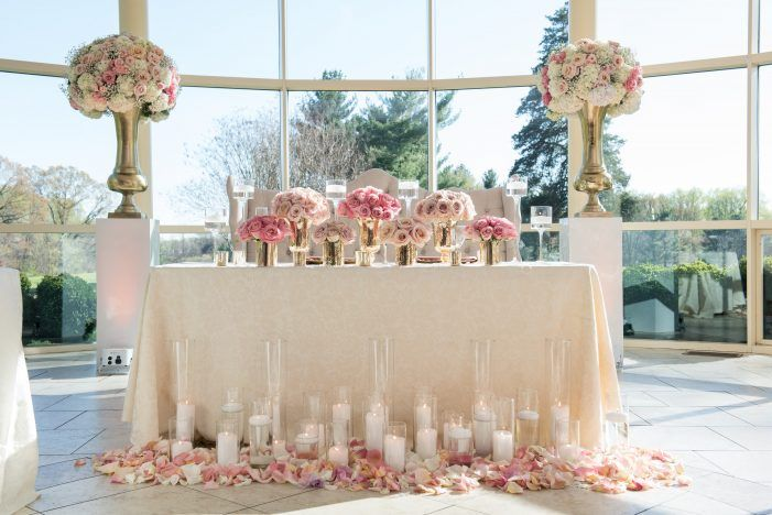 Pretty in pink maryland affair shabby chic wedding decor glam sweetheart table design pink sweetheart table flowers shabby chic wedding decor from pastel junglespirit Gallery