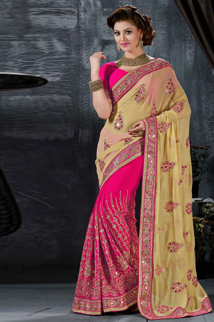 baa87b4d63 Urvashi Rautela Pink-Cream Wedding Wear Saree-9012 - $97 | Celebrity ...