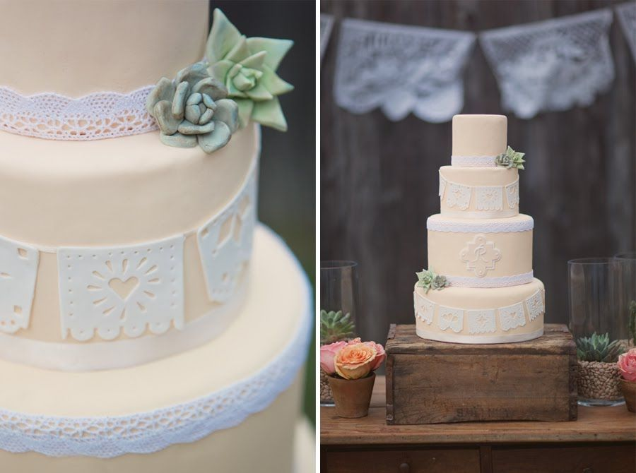 Succulents And Lace Wedding Cake Pastel Mexican Papel Picado Cake With Fondant Succulents Erica