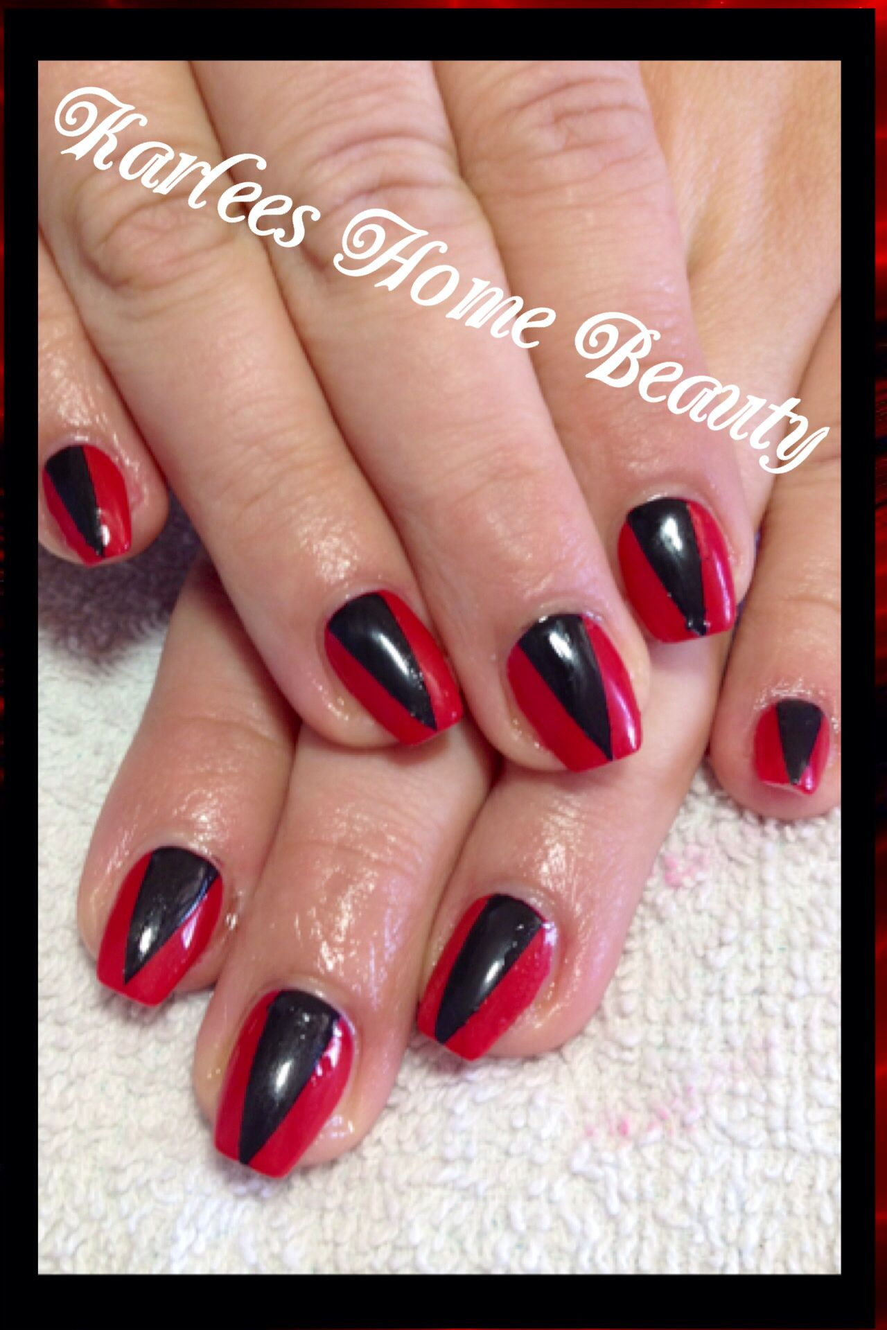 Acrylic Nails With Kleancolor Red And Black Simple Tape Nail Art