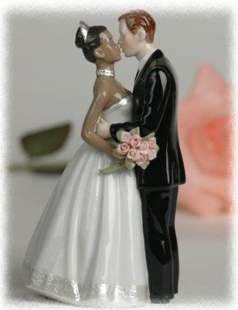 Porcelain Interracial Bi Racial Wedding Cake Topper Ethnic White Caucasian Groom African American Black Bride