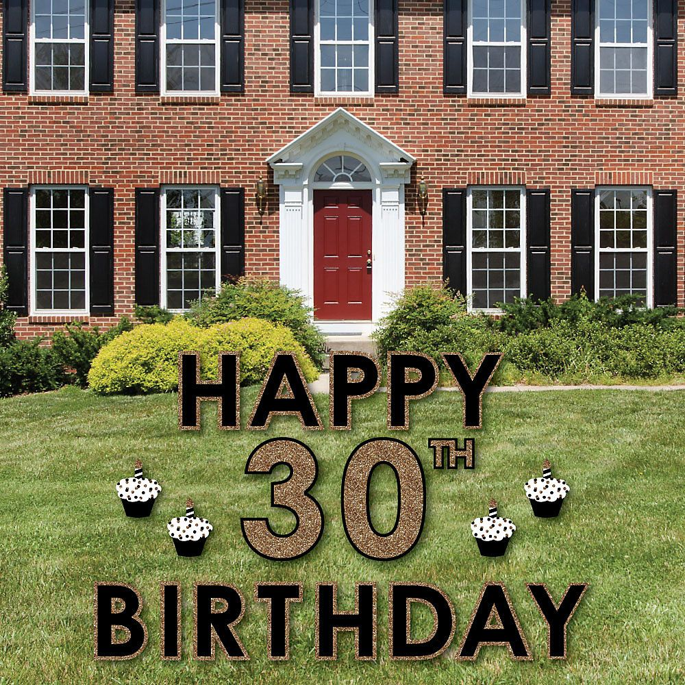 Adult 30th Birthday Gold Yard Sign Outdoor Lawn Decorations with