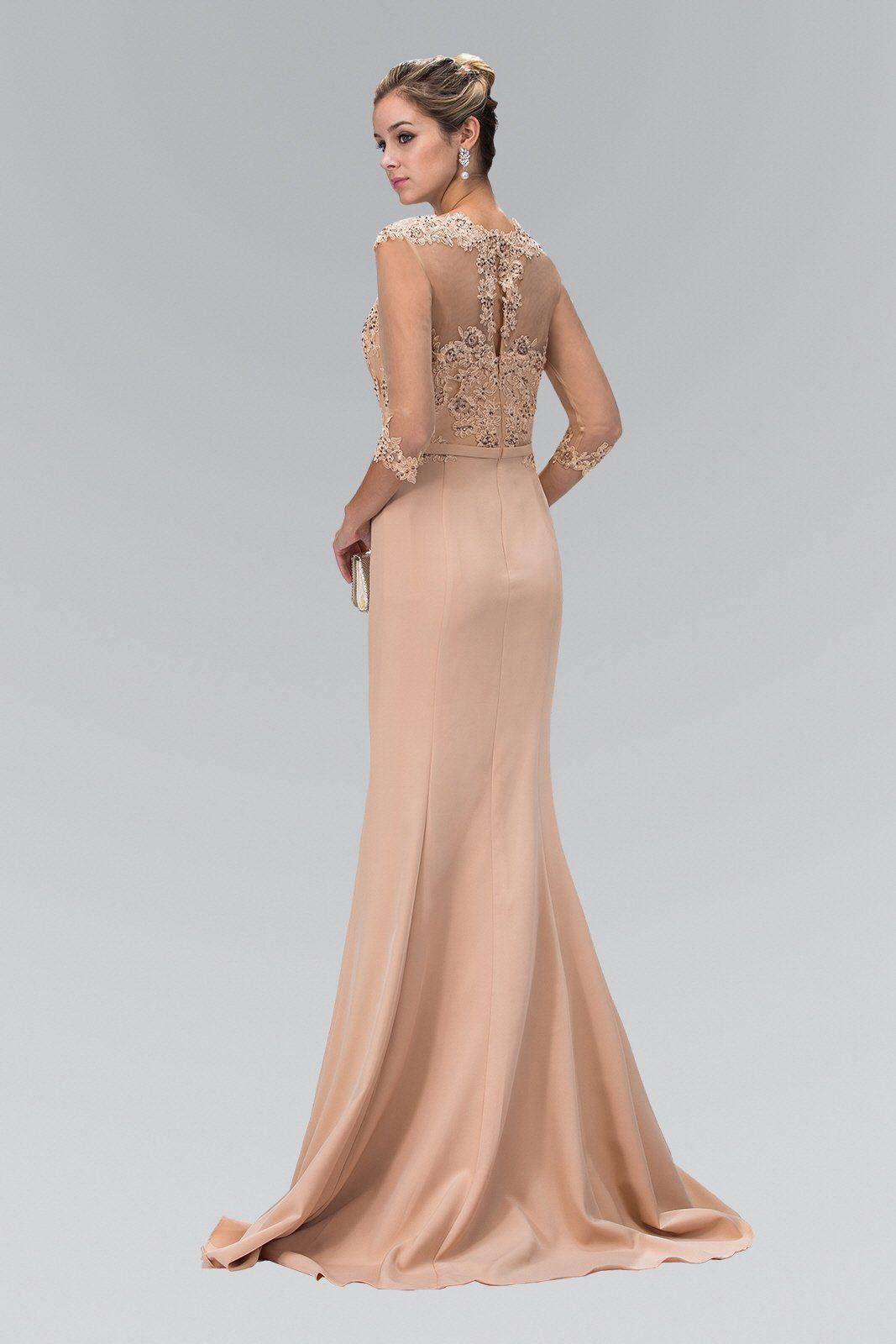 Floor length evening gown dress gl long sleeve evening gowns