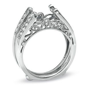 Diamonds Vintage Cathedral Ring Wrap Guard Solitaire