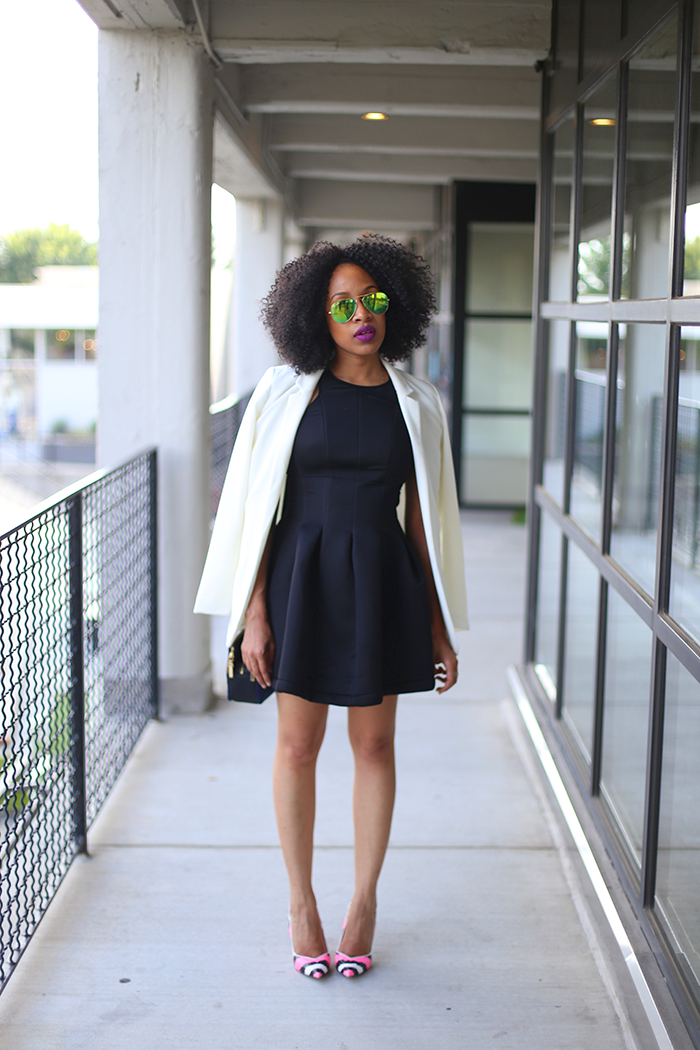 White blazer with black dress | Color dress | Pinterest | Of ...