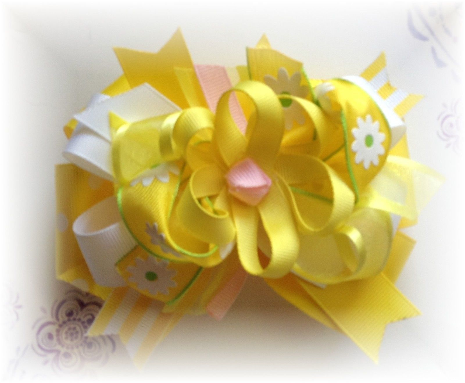Yellow White Flower Center 5 5 12 Inches Custom Boutique Hair Bow
