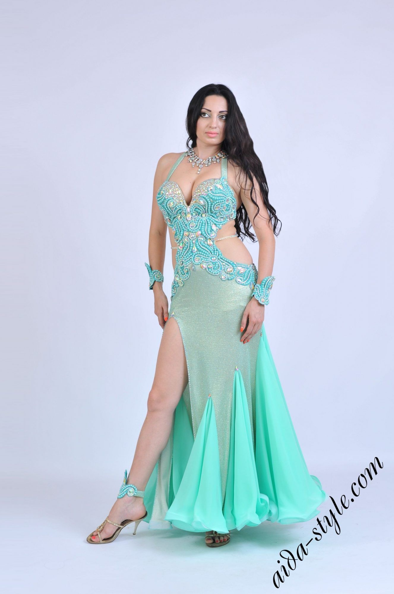 3b9fd5aa9503 Mint Aida bellydance dress with hand and leg accessories Beautiful Costumes,  Beautiful Dresses, Belly