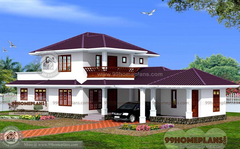 Modern Sloped Roof Front Elevation Villas Designs Stylish And Simple Varieties Of Plans Excellent Two F In 2020 Kerala House Design House Design Photos House Styles