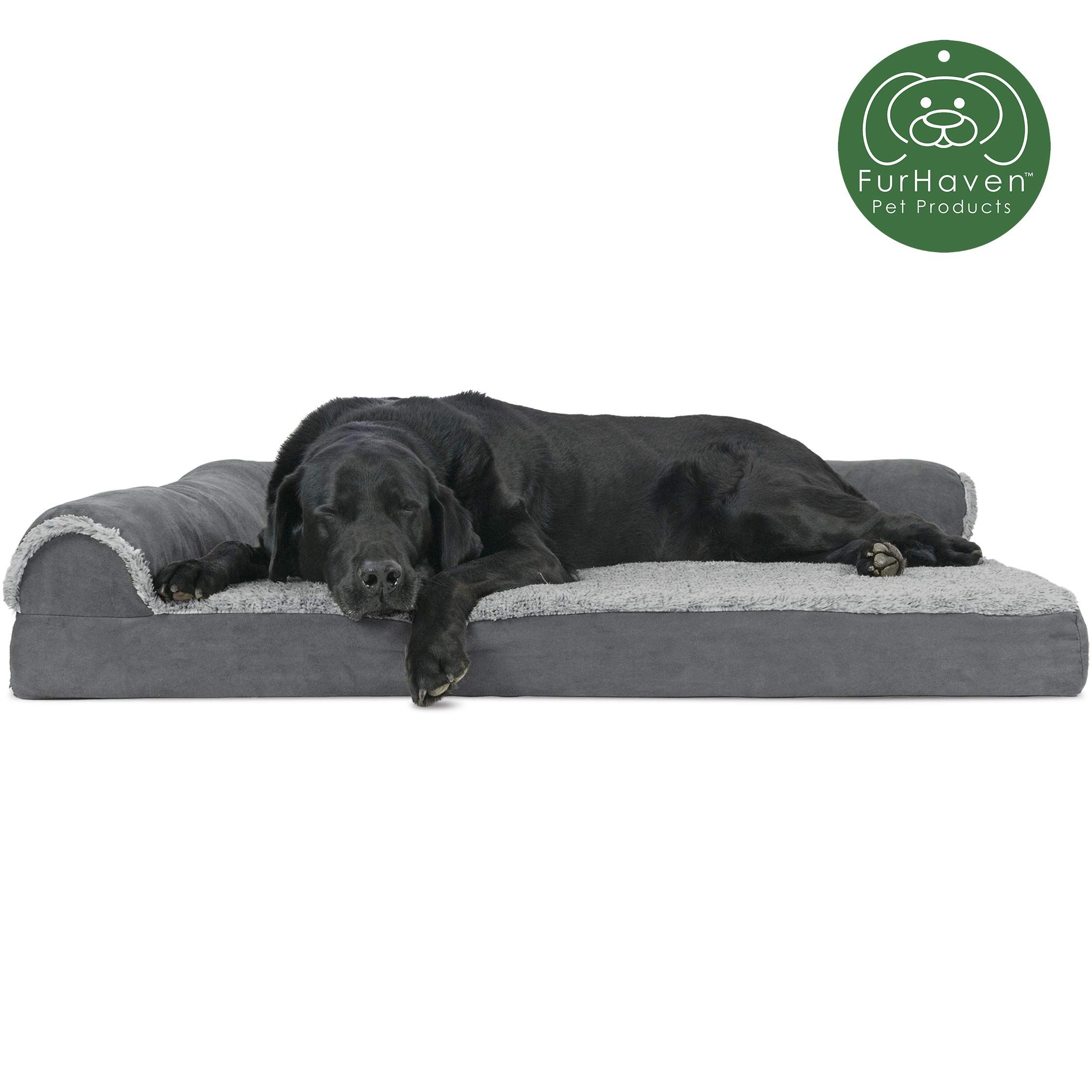 Furhaven Pet Dog Bed Deluxe Orthopedic Goliath Quilted Faux Fur And Velvet L Shaped Chaise Lounge Corner Living Dog Pet Beds Couch Pet Bed Orthopedic Dog Bed