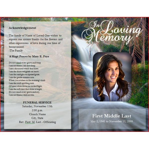 Elegant Free Funeral Program Template Publisher Photograph Microsoft