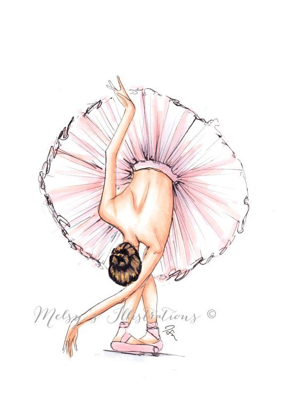 The Ballerina Fashion Illustration Print Fashion #illustrationart