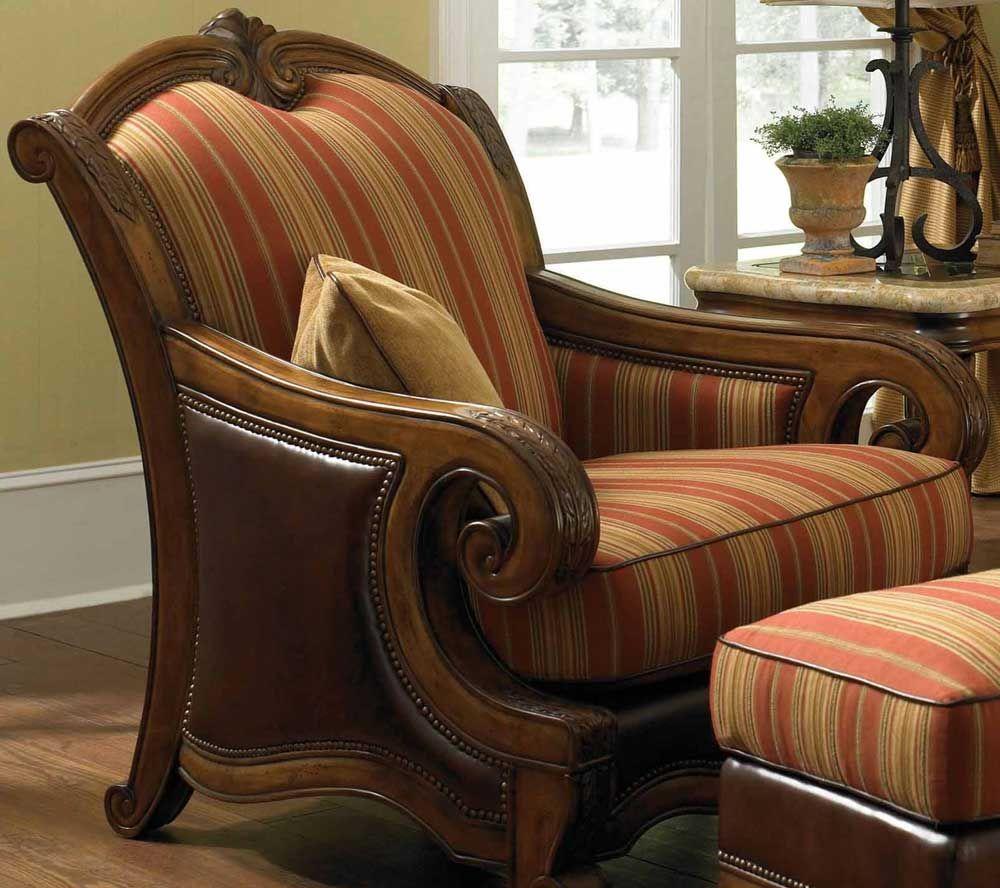 Aico Tuscano Leather And Fabric Chair Ai 34934 26 Aico Furniture Chair And Ottoman Set Chair Fabric