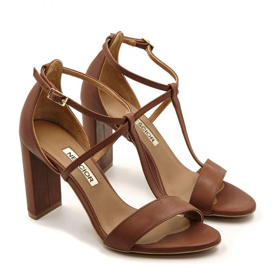 Brazowe Skorzane Sandaly Z Paskami Na Wysokim Slupku 33d Nescior Sklep Firmowy Shoes Sandals Fashion