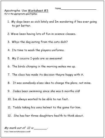 Apostrophe worksheets year 1
