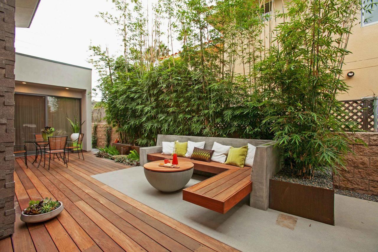 Contemporary Patio With Lounge Area Bamboo Plants Bamboo Garden