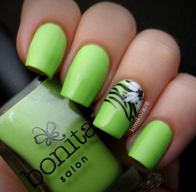 Nails Nail Art Neon Green Nails Beauty Nail Art Pinterest