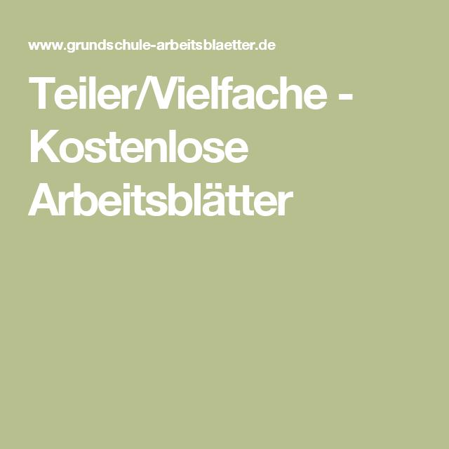 Teiler/Vielfache - Kostenlose Arbeitsblätter | Schule✒ | Pinterest ...