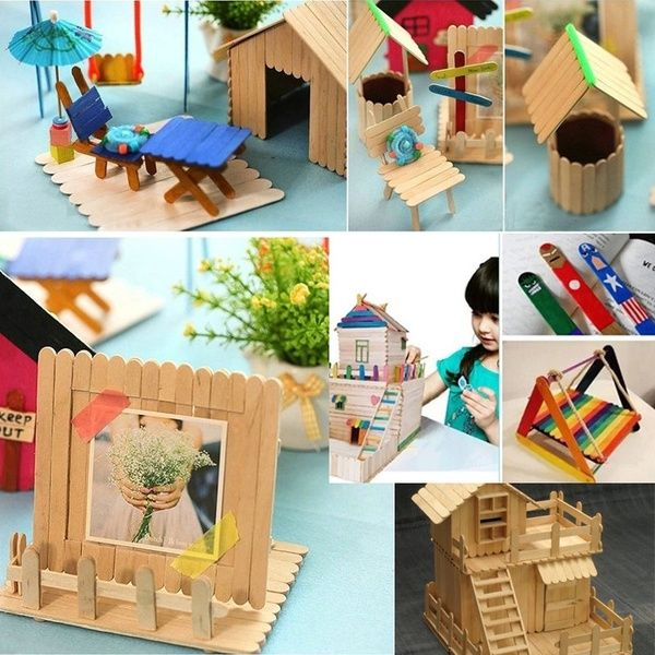 Photo of Hot Sale 50Pcs Wooden Popsicle Stick Kids Hand Crafts Art Ice Cream Lolly Cake DIY Making Funny Toy Gift
