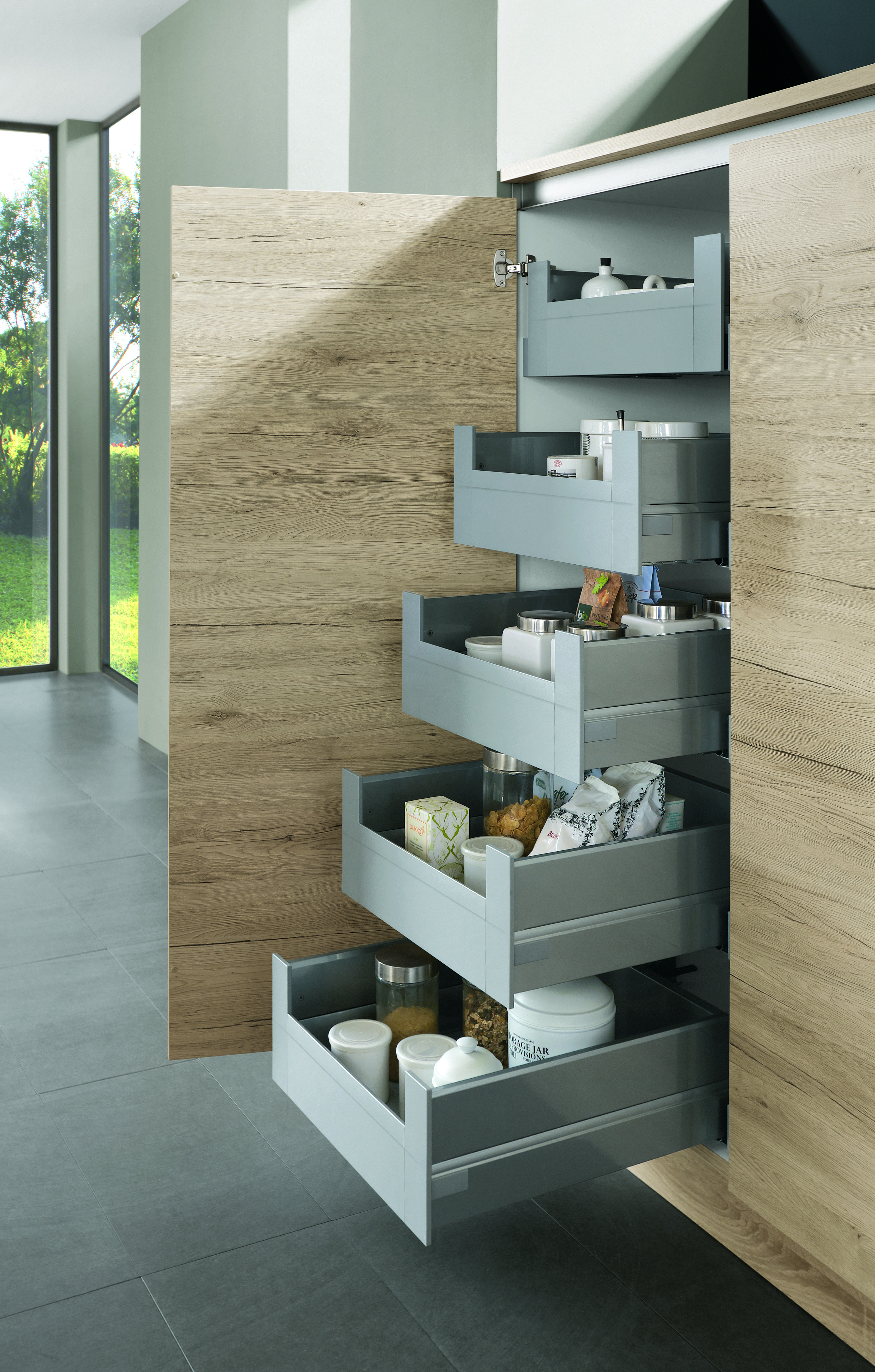 5 Innenauszüge beim Seitenschrank Küche eiche