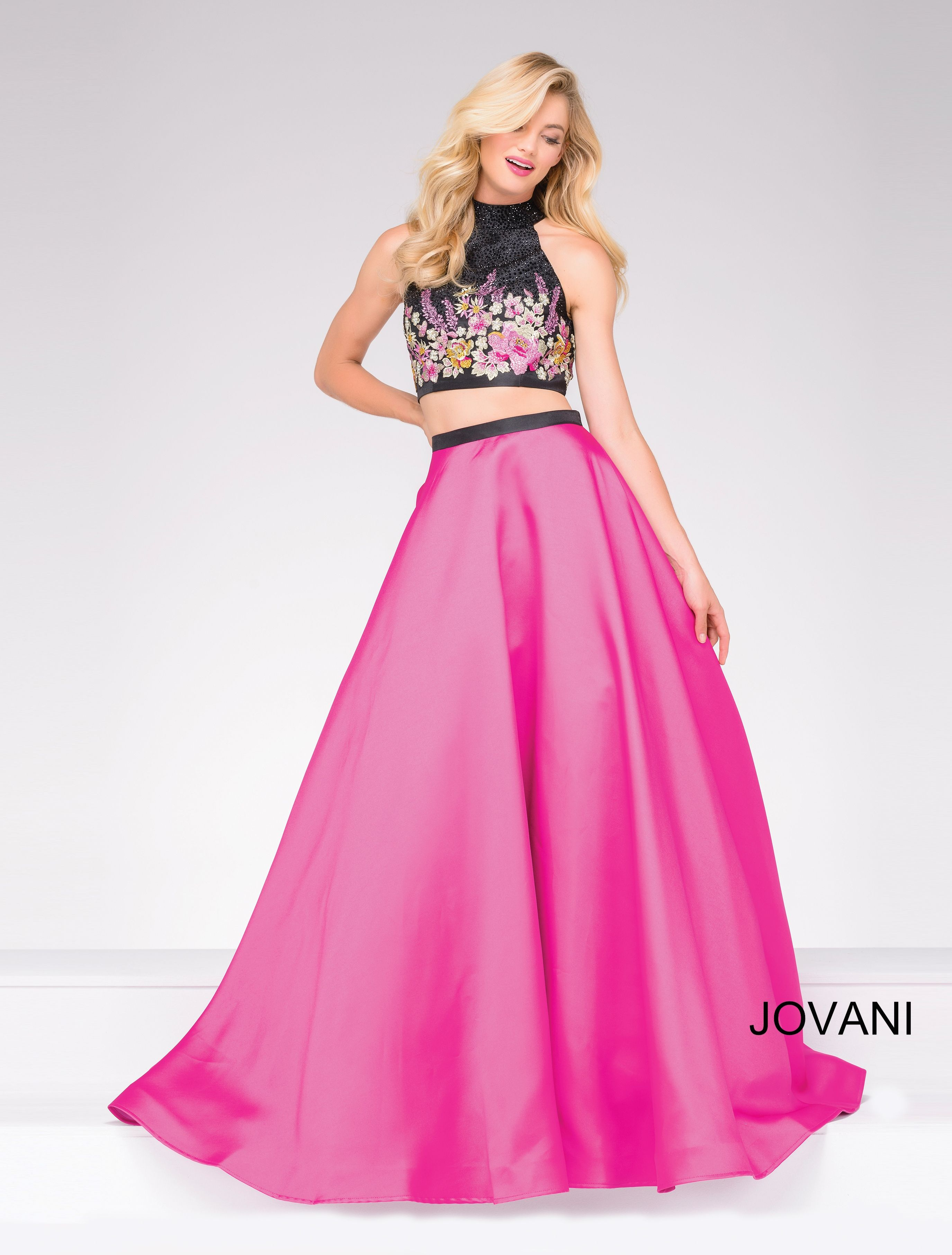Jovani two piece prom dress with floral pattern top and pink full ...