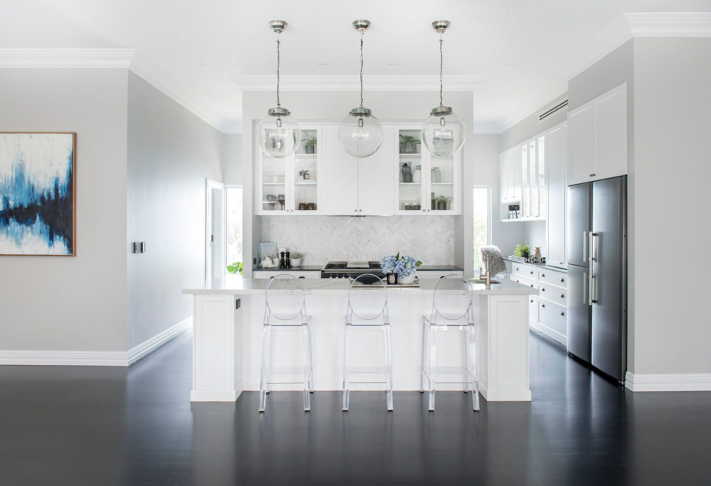 Stunning Classic Luxe Kitchen with Stained Black Jarrah Floors