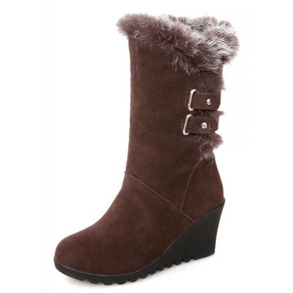 Women's Warm Comfy Round Toe Buckle Strap Faux Fur-lined Mid Heel Wedge Mid Calf Snow Boots