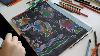 Dietro il dipinto : Coloured pencils on black paper